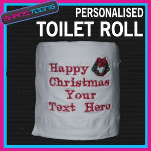 PERSONALISED CHRISTMAS TOILET ROLL NOVELTY GIFT EMBROIDERED & GIFT WRAPPED